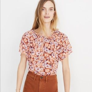 Madewell smocked mockneck top in floral breeze
